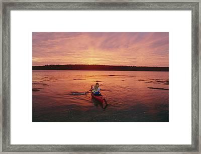 Woman Kayaking At Dusk, Penobscot Bay Framed Print by Skip Brown