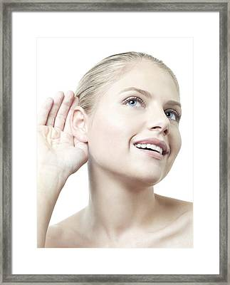 Woman Listening Framed Print by