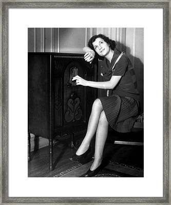 Woman Listening To A Radio, C. 1930s Framed Print