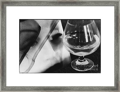 Woman Looking Through Glass Version 1 Framed Print by Christine Perry