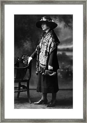 Woman Modeling A Scarf, Hat Framed Print