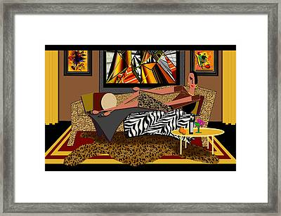 Woman On A Chaise Lounge Framed Print by Jann Paxton