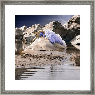 Woman On A Rock Framed Print by Joana Kruse