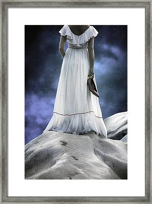 Woman On Rocks Framed Print by Joana Kruse