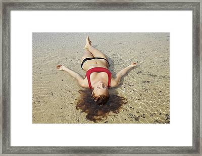 Woman On Sand Framed Print by Kicka Witte