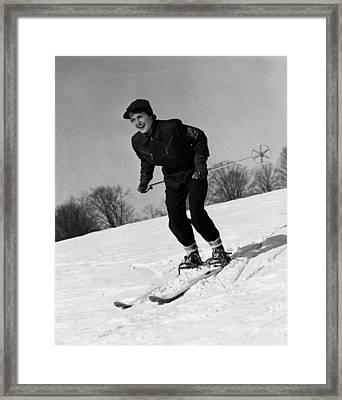 Woman On Ski Slopes Framed Print by George Marks