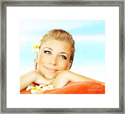 Woman On Spa Massage Bed On The Beach Framed Print by Anna Om
