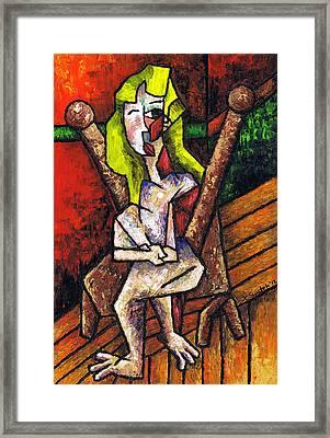 Woman On Wooden Chair Framed Print by Kamil Swiatek