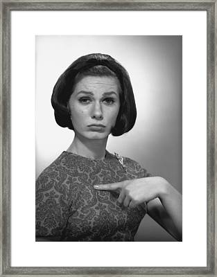 Woman Pointing On Herself In Studio, (b&w), Portrait Framed Print by George Marks