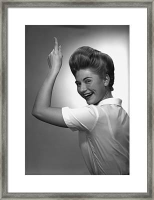 Woman Pointing Up In Studio, (b&w), Portrait Framed Print by George Marks