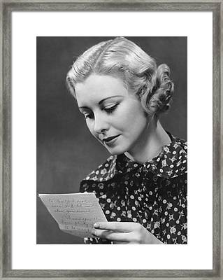 Woman Reading Letter Framed Print by George Marks