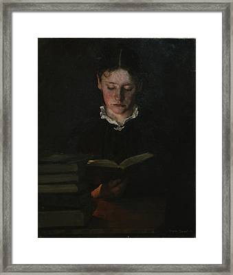 Woman Reading Framed Print by Signe Scheel