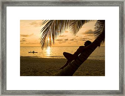 Woman Resting On A Palm Tree At Sunset Framed Print by Richard Nowitz