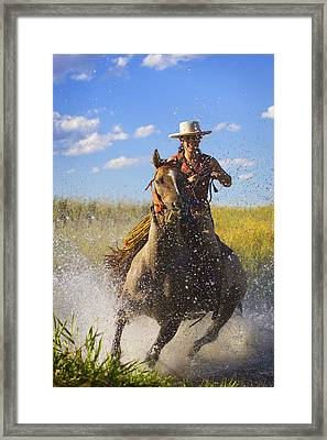 Woman Riding A Horse Framed Print by Richard Wear
