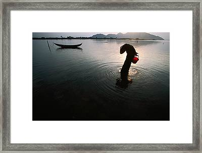 Woman Searches For Crustaceans In Lagoon On Vietnam's Central Coast, Phan Rang-thap Cham, Ninh Thuan, Vietnam, South-east Asia Framed Print