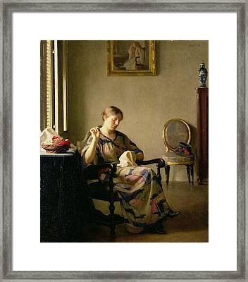 Woman Sewing Framed Print by William McGregor Paxton