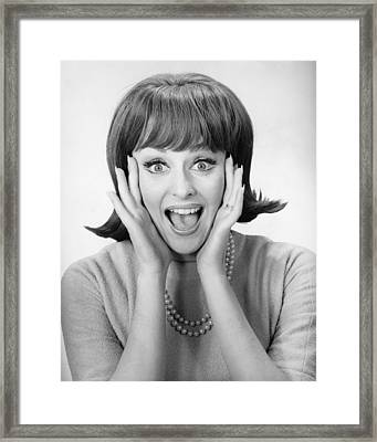 Woman Shouting In Studio, (b&w), Portrait Framed Print by George Marks