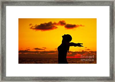 Woman Silhouette Over Sunset Framed Print by Anna Om