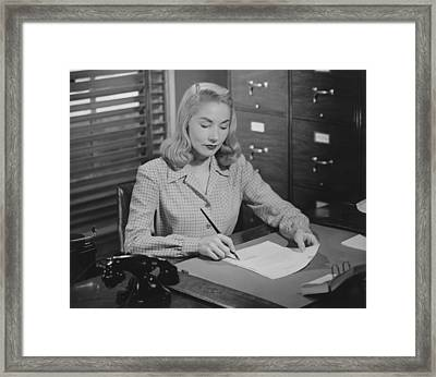 Woman Sitting At Desk, Writing Letter, (b&w) Framed Print by George Marks