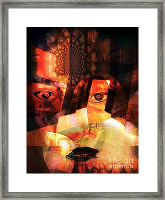 Woman Spirit At The Door  Framed Print by Fania Simon