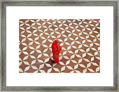 Woman Standing On Designed Flooring Framed Print