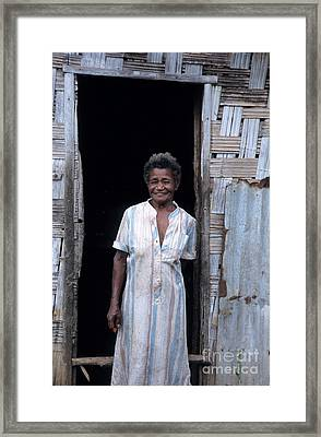 Woman Standing-up Outside Her Home Framed Print