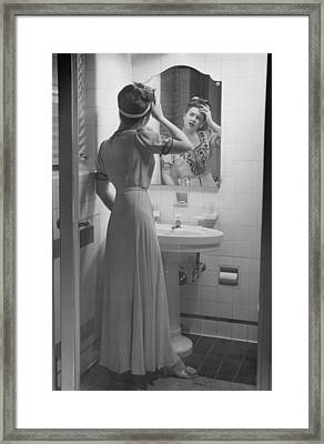 Woman Suffering Headache Standing In Front Of Bathroom Mirror, (b&w) Framed Print by George Marks