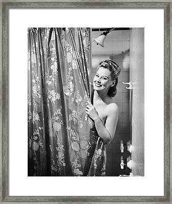 Woman Taking Shower Framed Print by George Marks