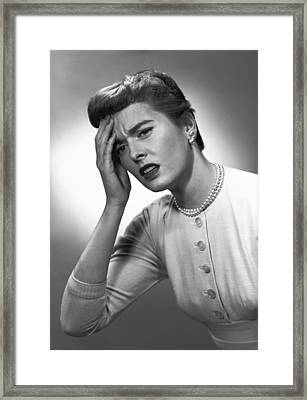 Woman Touching Forehead In Studio, (b&w) Framed Print by George Marks