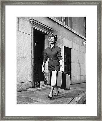 Woman Traveling Framed Print by George Marks