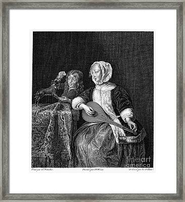 Woman Tuning A Lute Framed Print by Granger