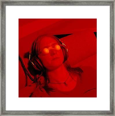 Woman Undergoing Ganzfeld Telepathy Experiment Framed Print