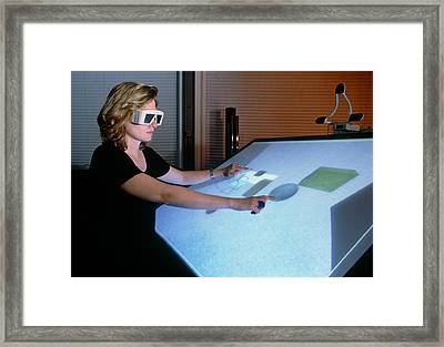Woman Using A 3-d Computer-aided Design System Framed Print by Volker Steger