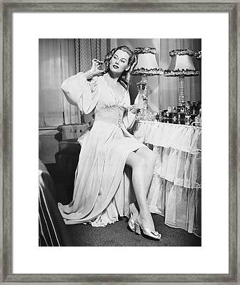 Woman W/ Bottle Of Perfume Framed Print by George Marks