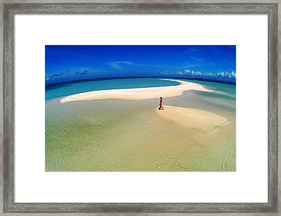 Woman Walking Along Sand Bar At A Tropical Beach In Malaysian Borneo's Sipadan-kapali-mabul Region Framed Print by Tim Rock
