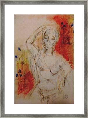 Woman Washing Hair By Stream Framed Print by Cj Carroll