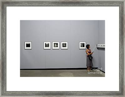 Woman Watching Photos At Exhibition Framed Print by Sami Sarkis