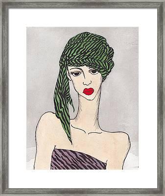 Woman Wearing A Turban Framed Print by Dorrie Ratzlaff