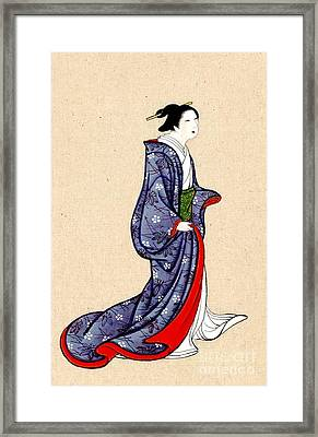 Woman Wearing Robe And Kimono 1878 Framed Print by Padre Art