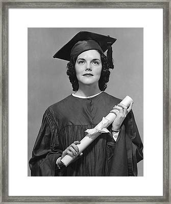 Woman Who Graduated Framed Print by George Marks