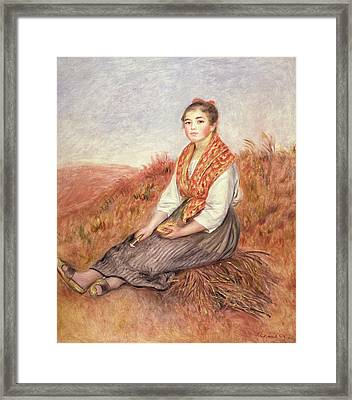 Woman With A Bundle Of Firewood Framed Print