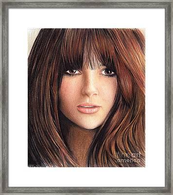 Woman With Brown Hair Framed Print by Muna Abdurrahman