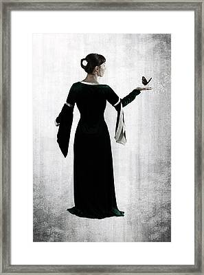 Woman With Butterfly Framed Print by Joana Kruse