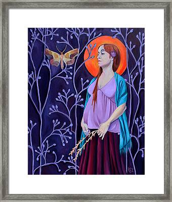 Woman With Child And Wildflowers Framed Print by Renee Thompson