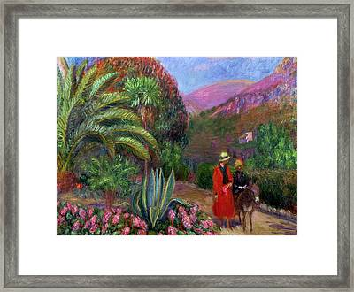 Woman With Child On A Donkey Framed Print
