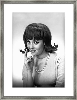 Woman With Cigarette Posing In Studio, (b&w), Portrait Framed Print by George Marks