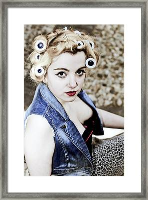 Woman With Curlers Framed Print by Joana Kruse
