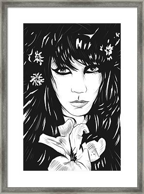 Woman With Flower Framed Print by Giuseppe Cristiano