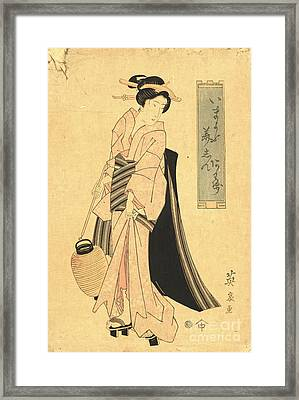 Woman With Paper Lantern Framed Print by Padre Art