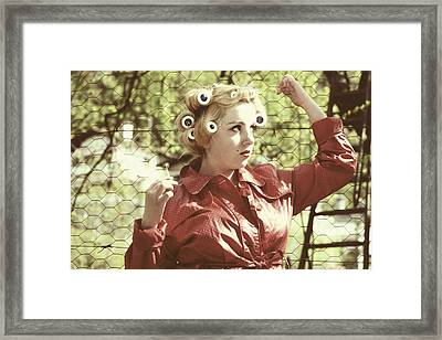 Woman With Rain Coat And Curlers Framed Print by Joana Kruse